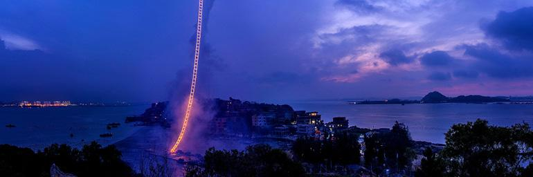 """Image from """"Sky Ladder: The Art of Cai Guo-Qiang."""" Screening courtesy Netflix"""
