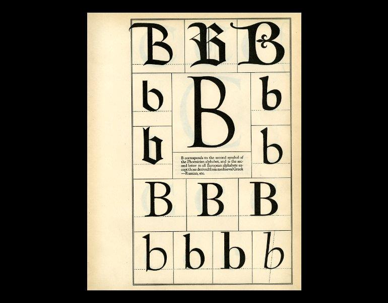 Plate B in Goudy, Frederic W. (Frederic William), 1865–1947. The alphabet; fifteen interpretative designs drawn and arranged with explanatory text and illustrations, by Frederic W. Goudy. New York: M. Kennerley, 1918. Rare books NK3600.G65 1918