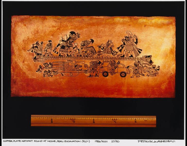 Copper Plate Artifact Found at Moche, Peru Excavation (R1/-), 1999. Patrick Nagatani (American, b. 1945). Chromogenic (Fujicolor Crystal Archive) print; 18.1 x 23.8 cm. The Cleveland Museum of Art, Gift of George Stephanopoulos 2011.297.