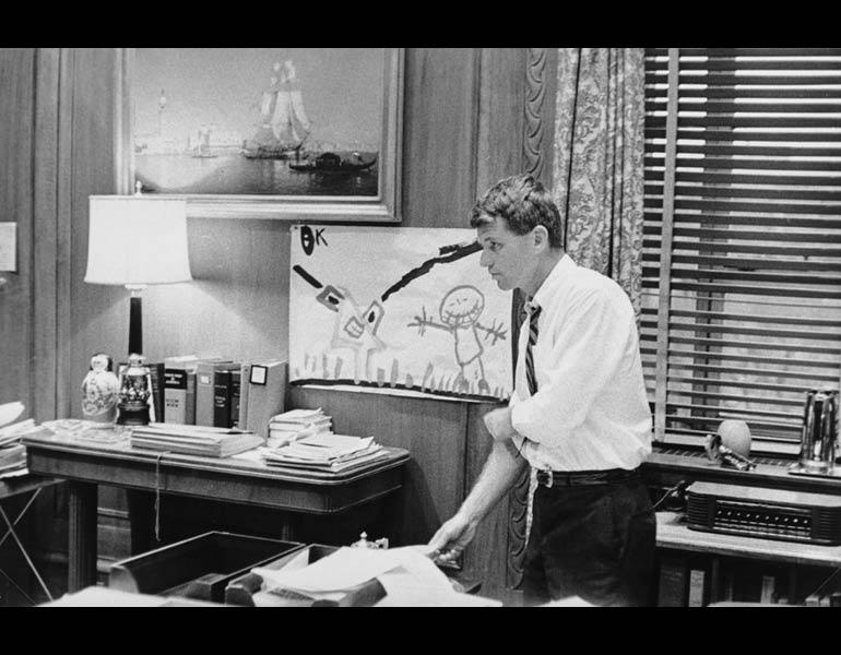Attorney General Robert F. Kennedy in His Office with Child's Painting on Wall, Washington, DC, 1961. Henri Cartier-Bresson (French, 1908–2004). Ferrotyped gelatin silver print; 17.2 x 25.4 cm. The Cleveland Museum of Art, Gift of George Stephanopoulos 20