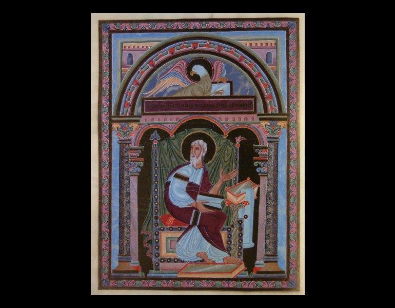 Opening page from Das goldene Evangelienbuch von Echternach. Rare Book. ND3359.C56 B58 1982. IML 986575