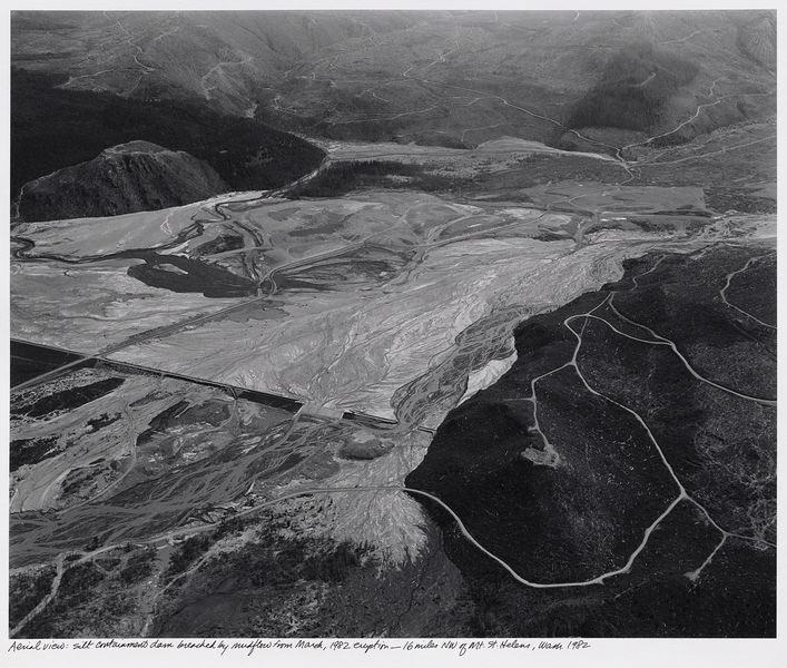 Silt containment dam breached by mudflow from March 1982 eruption, 16 miles northwest of Mount St. Helens, 1982. Frank Gohlke (American, born 1942). Gelatin silver print; 25 x 29 in. © Frank Gohlke / courtesy: Howard Greenberg Gallery