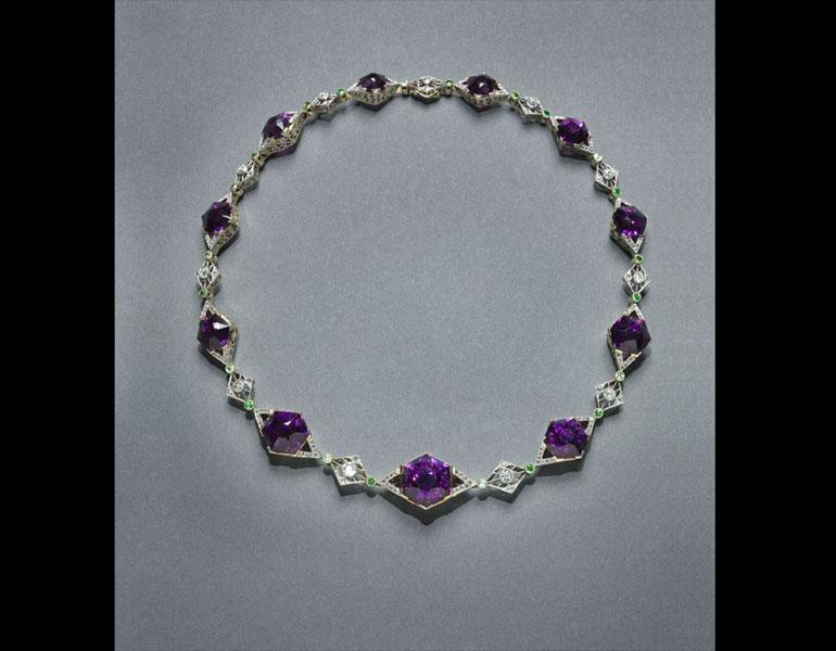 Necklace, 1895–1900. House of Fabergé (Russian, 1846–1920). Amethyst, diamonds, gold, platinum, demantoid garnets. Collection of Neil Lane, Photo: Howard Agriesti, The Cleveland Museum of Art