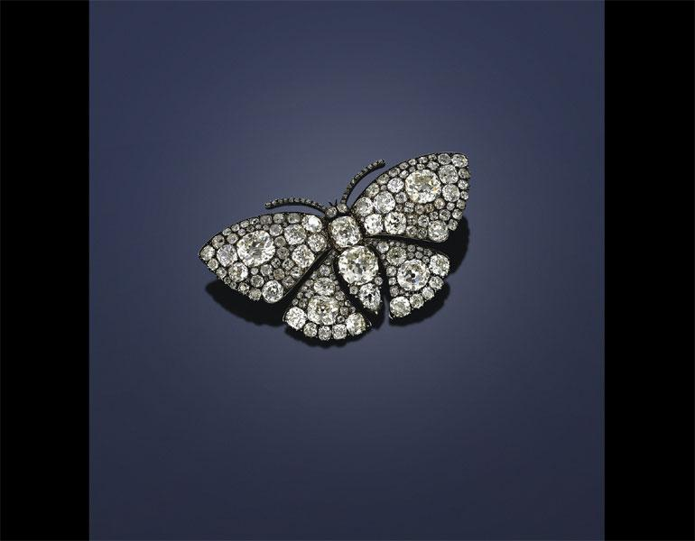 Butterfly Brooch, c. 1895–1905. Unknown maker, France. Diamonds, silver, gold. Collection of Neil Lane, Photo: © Richard Rubins