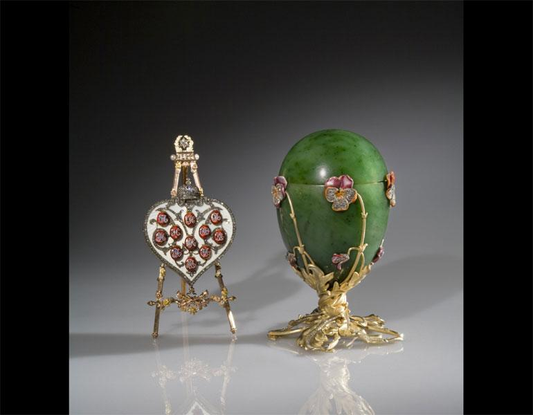 Imperial Pansy Egg, 1899. House of Fabergé (Russian, 1846–1920), Mikhail Perkhin (Russian, 1860–1903) designer. Nephrite, silver-gilt, enamel, and rose-cut diamonds. Private Collection, Photo: © Judith Cooper
