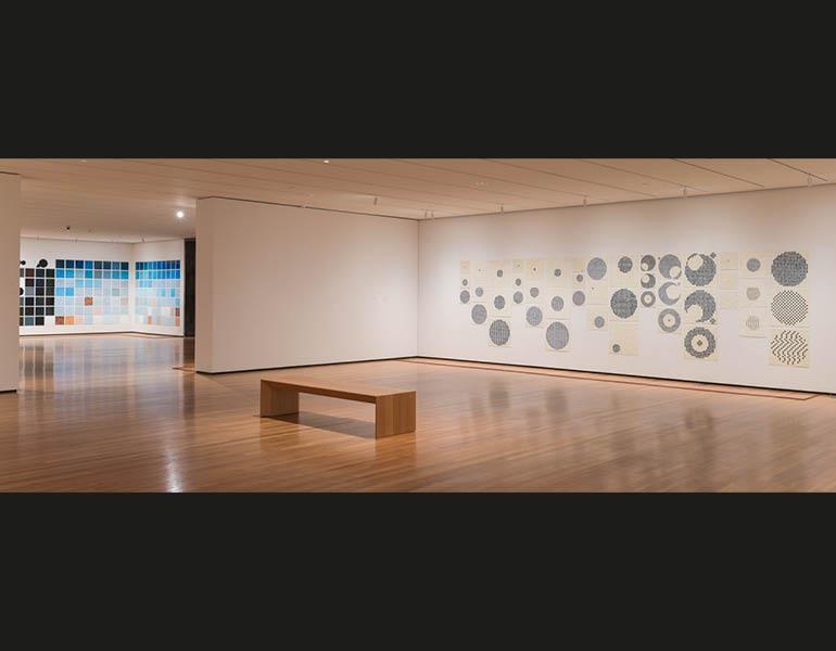 Song (detail, installation view), 2007. Jennifer Bartlett (American, b. 1941). Enamel over silkscreen grid on baked enamel, steel plates; 191.1 x 2,962 cm. Gift of Agnes Gund 2008.117. © 2014 Jennifer Bartlett. Photo: The Cleveland Museum of Art
