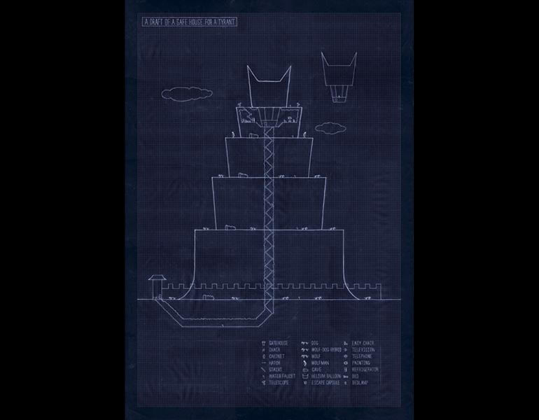 A Draft of a Safe House for a Tyrant, 2009. Kim Beom (Korean, b. 1963). Blueprint; 98 x 68 cm. Courtesy of the artist. © Kim Beom