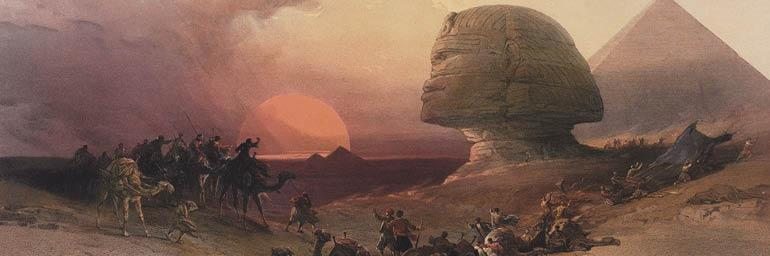Egypt and Nubia, Volume III: Approach of the Simoon. Desert at Gizeh (after David Roberts; detail), 1849. Louis Haghe (British, born Belgium, 1806–1885). Color lithograph; 47.6 x 63.5 cm. The Cleveland Museum of Art, Bequest of John Bonebrake