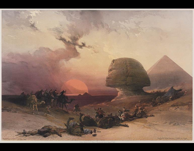 Egypt and Nubia, Volume III: Approach of the Simoon. Desert at Gizeh (after David Roberts), 1849. Louis Haghe (British, born Belgium, 1806–1885). Color lithograph; 47.6 x 63.5 cm. The Cleveland Museum of Art, Bequest of John Bonebrake