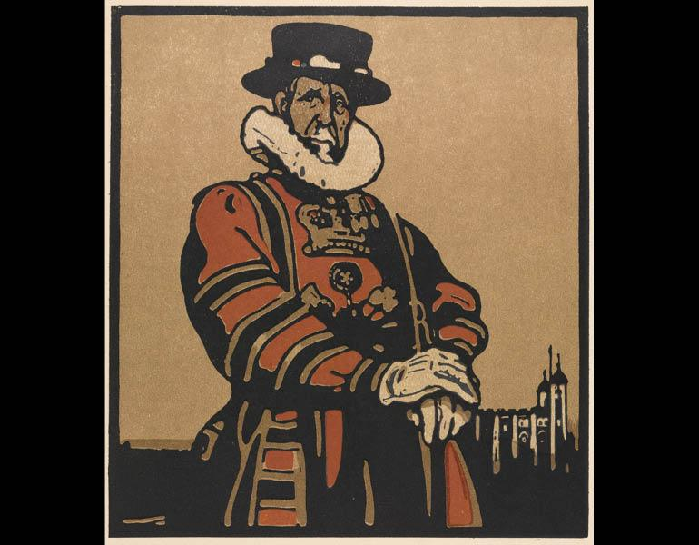 London Types: Beefeater, 1898. Wiliam Nicholson (British, 1872–1949). Color lithograph; 40.6 x 40.6 cm. The Cleveland Museum of Art, Gift of John Bonebrake 2010.616