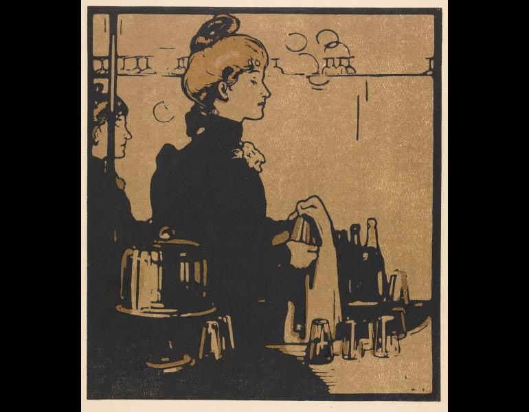 London Types: Barmaid, 1898. Wiliam Nicholson (British, 1872–1949). Color lithograph; 40.6 x 40.6 cm. The Cleveland Museum of Art, Gift of John Bonebrake 2010.625