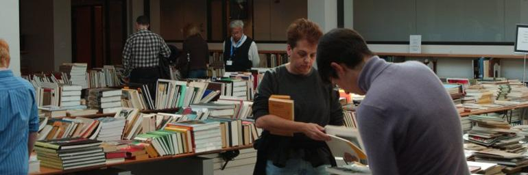 Patrons shopping the book sale