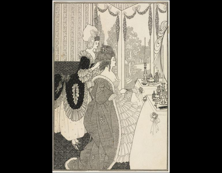 The Toilet, c. 1895–96, from The Rape of the Lock by Alexander Pope. Aubrey Beardsley (British 1872–1898). Pen and black ink with traces of graphite underdrawing; 25.6 × 17.4 cm. The Cleveland Museum of Art, Dudley P. Allen Fund 1953.136