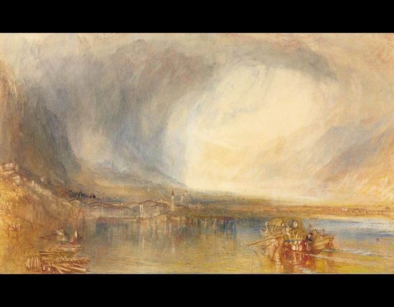 Fluelen, from the Lake of Lucerne, 1845. Joseph Mallord William Turner (British,  1775–1851). Watercolor with gouache and scratch-away; 29.2 × 47.9 cm. The Cleveland Museum of Art, Mr. and Mrs. William H. Marlatt Fund 1954.129