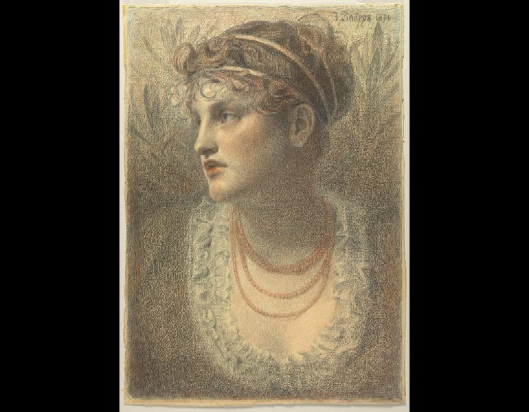 The Coral Necklace, 1871. (Anthony) Frederick (Augustus) Sandys (British 1829–1904). Black, brown, and red chalk; 55.9 × 39.2 cm. The Cleveland Museum of Art, Leonard C. Hanna Jr. Fund 1997.7