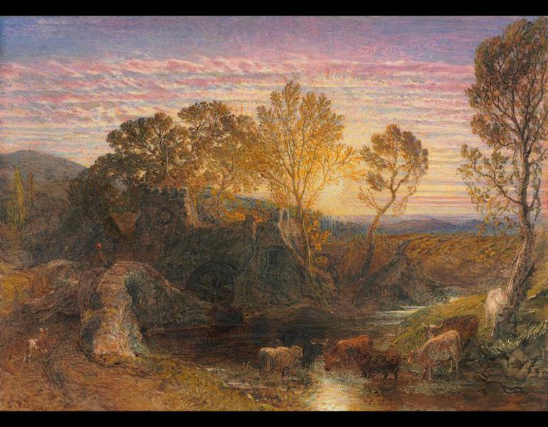 The Golden Hour, 1865. Samuel Palmer (British, 1805–1881). Watercolor and gouache with graphite; 25.6 x 35.4 cm. The Cleveland Museum of Art, The Severance and Greta Millikin Purchase Fund 2009.3
