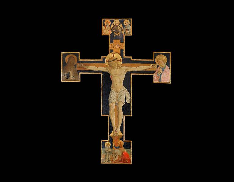 Painted Crucifix, from the church of San Michele Arcangelo, c. 1460–70. Bartolomeo Caporali (Italian, c. 1420–c. 1505). Tempera and gold on wood; 242.5 x 169 cm. San Michele Arcangelo, Isola Maggiore del Trasimeno
