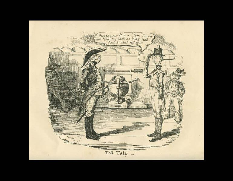 """Tell Tale. William Makepeace Thackeray, """"George Cruikshank,"""" The Westminster Review 34 (June - Sept. 1840): 25."""