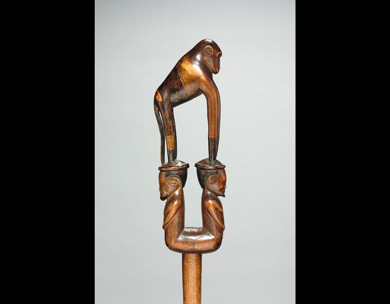 Staff, 1800s–1900s. The Baboon Master (South Africa, Tsonga people). Wood; h. 120.7 cm. The Cleveland Museum of Art, Leonard C. Hanna Jr. Fund 2010.204. Photo: © The Cleveland Museum of Art
