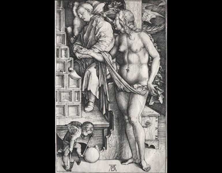 The Dream of the Doctor, c. 1500.  Albrecht Dürer (German, 1471–1528). Engraving; 19-1/4 x 15-1/4 in. Gift of Leonard C. Hanna Jr. 1934.341