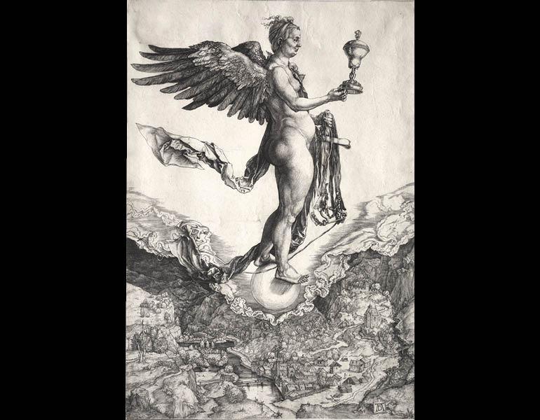 Nemesis, c. 1501–1502. Albrecht Dürer (German, 1471–1528).  Engraving; 19-1/4 x 15-1/4 in. Gift of Mrs. Ralph King 1943.178