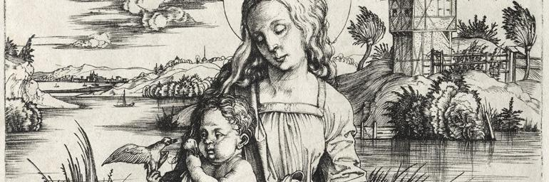 The Virgin and Child with a Monkey (detail), c. 1498. Albrecht Dürer (German, 1471–1528). Engraving; 19 x 17.9 cm. Dudley P. Allen Fund 1964.29