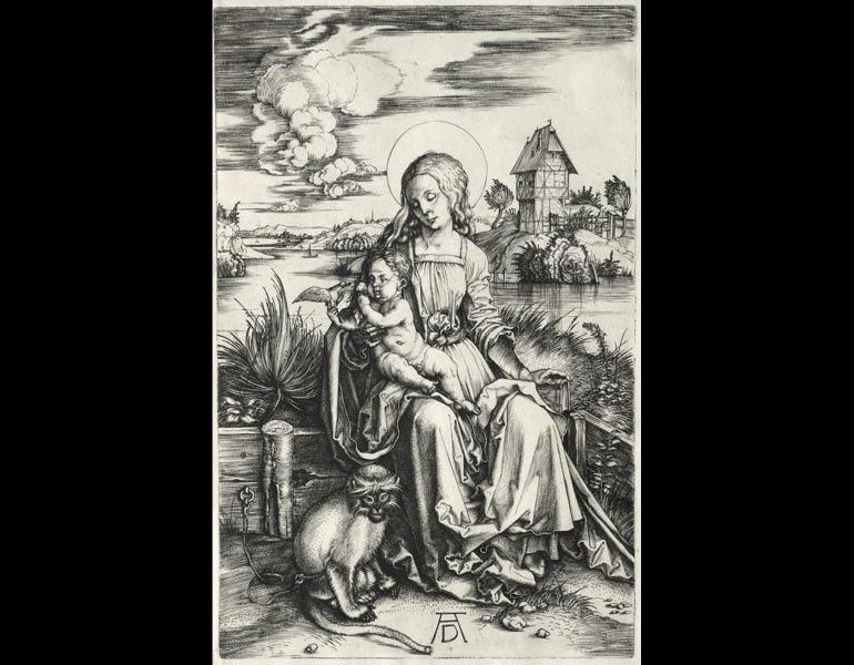 The Virgin and Child with a Monkey, c. 1498. Albrecht Dürer (German, 1471–1528). Engraving; 19-1/4 x 15-1/4 in. Dudley P. Allen Fund 1964.29