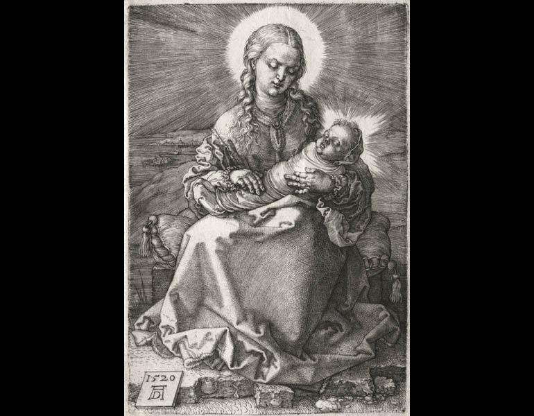 The Virgin with the Swaddled Child, 1520. Albrecht Dürer (German, 1471–1528). Engraving; 19-1/4 x 15-1/4 in. Dudley P. Allen Fund 1980.48