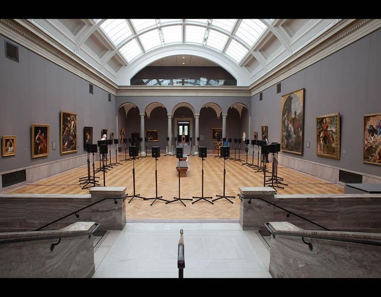 Forty-Part Motet, 2001. Janet Cardiff (Canadian, born 1957). 40-track audio installation; 14 minutes in duration. Installation view at the Cleveland Museum of Art. National Gallery of Canada Purchased 2001