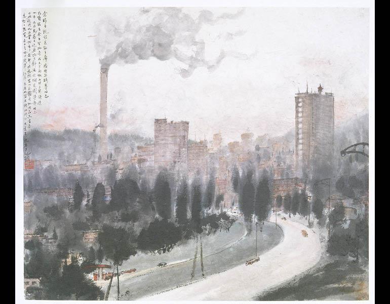 Gottwaldov, 1957. Fu Baoshi (Chinese, 1904-1965). Album leaf, ink and color on paper; 48.7 × 57.1 cm. Nanjing Museum