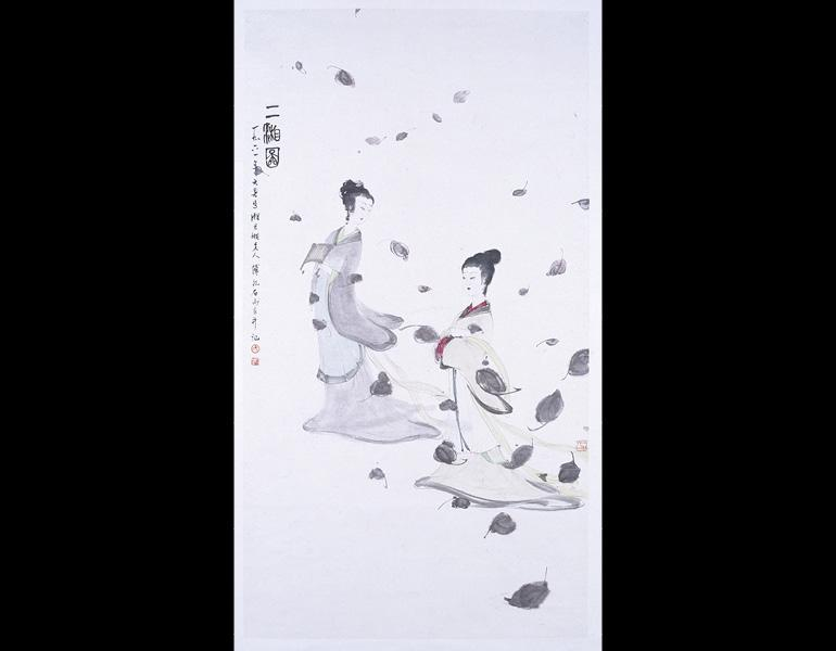 The Two Goddesses of the Xiang River, 1961. Fu Baoshi (Chinese, 1904-1965). Hanging scroll, ink and color on paper; 134 x 68.5 cm. Nanjing Museum