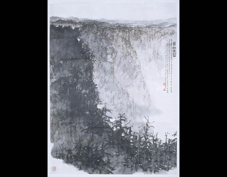 Jinggang Mountain, 1964. Fu Baoshi (Chinese, 1904-1965). Hanging scroll, ink and light color on paper; 81.8 x 49.6 cm. Nanjing Museum
