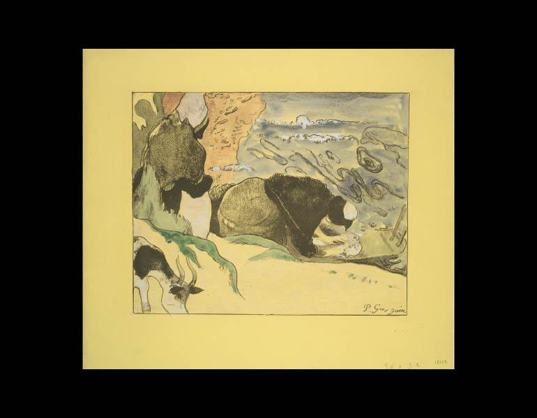 Volpini Suite: Laundresses (Les Laveuses), 1889. Paul Gauguin (French, 1848–1903). Hand-colored zincograph; 30.5 x 35.3 cm. Museum of Fine Arts, Boston, Bequest of W. G. Russell Allen 60.310. Photograph © 2009, Museum of Fine Arts, Boston