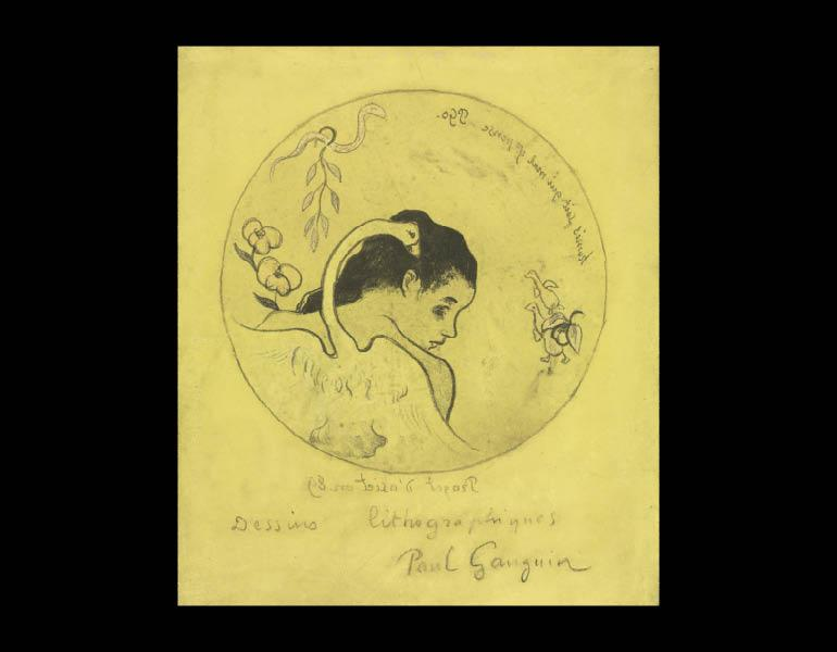 Volpini Suite: Design for a Plate: Leda and the Swan (Projet d'Assiette: Léda et le Cygne), 1889. Paul Gauguin (French, 1848–1903). Zincograph; 29.9 x 25.7 cm. The Cleveland Museum of Art, Dudley P. Allen Fund 1954.55.1