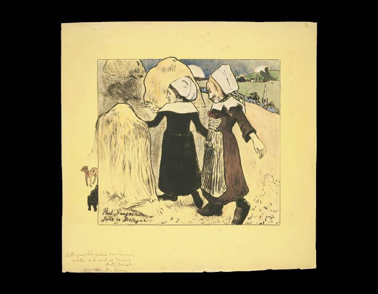 Volpini Suite: Joys of Brittany (Joies de Bretagne), 1889. Paul Gauguin (French, 1848–1903). Hand-colored zincograph; 30.2 x 30.8 cm. Museum of Fine Arts, Boston, Bequest of W. G. Russell Allen 60.304. Photograph © 2009, Museum of Fine Arts, Boston
