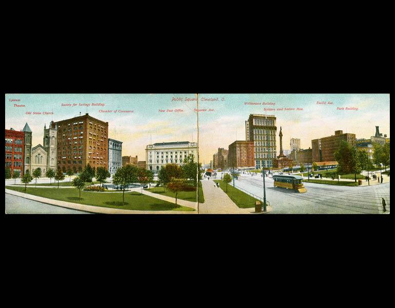 "Postcard, ""Public Square, Cleveland, O."" IML P000078 and P000070"