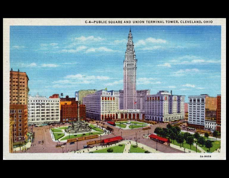 "Postcard, ""Public Square and Union Terminal Tower, Cleveland, Ohio."" IML P000022"