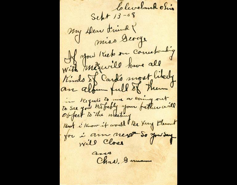 "Postcard, ""Lake Front, Cleveland, Ohio"" (back, inscribed September 13, 1908) IML P000148"