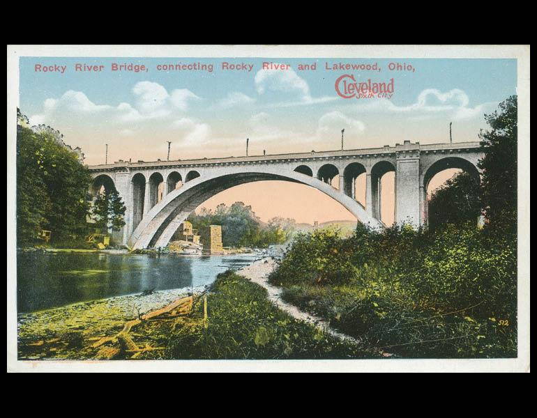 """Postcard, """"Rocky River Bridge, connecting Rocky River and Lakewood. Cleveland Sixth City."""" IML P000055"""