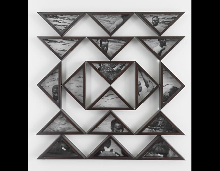 Trouble the Water, from Frameworks, 2013. Hank Willis Thomas (American, born 1976). Digital chromogenic prints and stained African mahogany; 50 x 50 in. Courtesy of the artist and Jack Shainman Gallery, New York. © Hank Willis Thomas