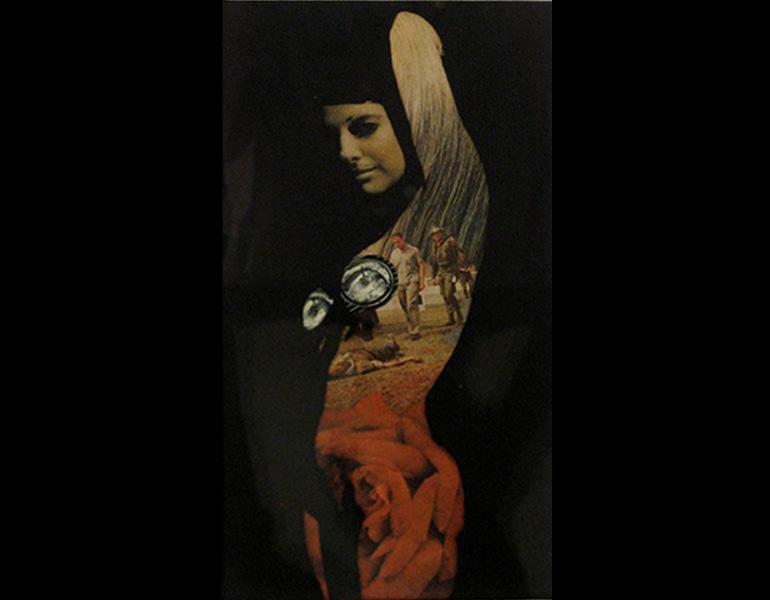 Costume for Feb. '68, 1968. Robert Heinecken (American, 1931–2006). Black and white film transparency over magazine collage; 22.9 x 12.7 cm. Image courtesy Marc Selwyn Fine Art. © The Robert Heinecken Trust.