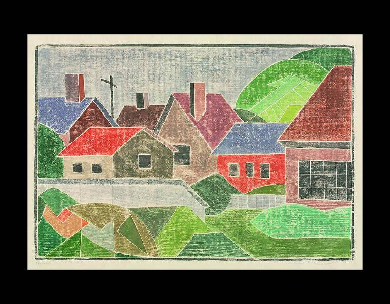 Houses, about 1936. Mabel Hewit (American, 1903–1984). Color woodcut; 23.7 × 35 cm. Gift of Mr. and Mrs. William Jurey in memory of Mabel A. Hewit 2003.366 © Mabel Hewit
