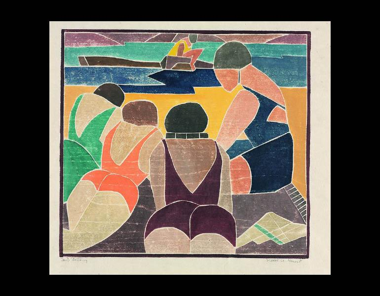 Sun Bathing, 1937. Mabel Hewit (American, 1903–1984). Color woodcut; 27.7 × 30.3 cm. Gift of Mr. and Mrs. William Jurey in memory of Mabel A. Hewit 2003.362 © Mabel Hewit