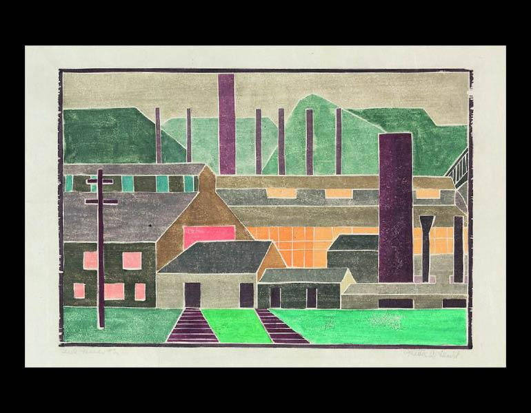 Steel Mills #2, about 1933. Mabel Hewit (American, 1903–1984). Woodblock; 24.3 × 35.6 × 1.9 cm. Mr. and Mrs. William Jurey © Mabel Hewit