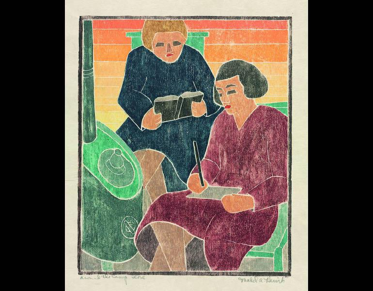 Around the Camp Stove, about 1937. Mabel Hewit (American, 1903–1984). Color woodcut; 27.5 × 22.6 cm. Mr. and Mrs. William Jurey © Mabel Hewi