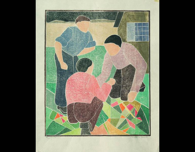The Gardeners, about 1934. Mabel Hewit (American, 1903–1984). Color woodcut; 35.6 × 29.7 cm. Mr. and Mrs. William Jurey © Mabel Hewit