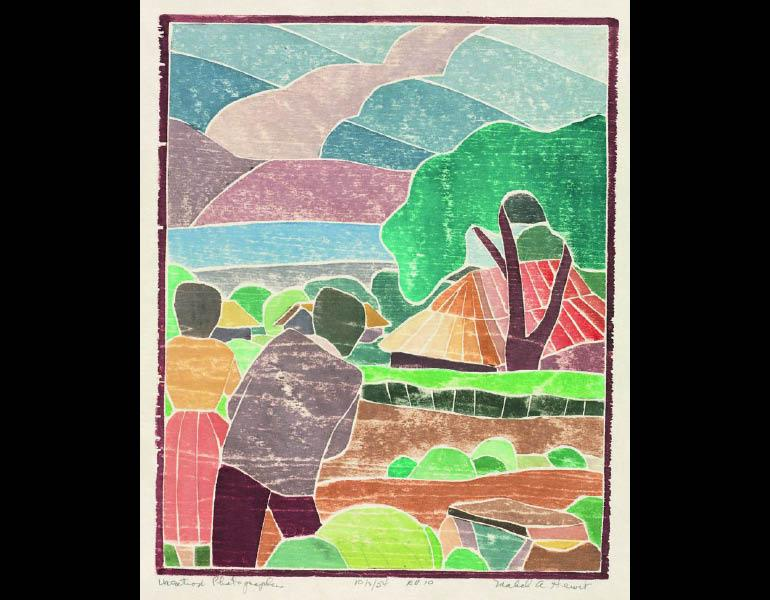 Vacation Photographers, 1954. Mabel Hewit (American, 1903–1984). Color woodcut; 29.7 × 24 cm. Gift of Mr. and Mrs. William Jurey in memory of Mabel A. Hewit 2004.194 © Mabel Hewit