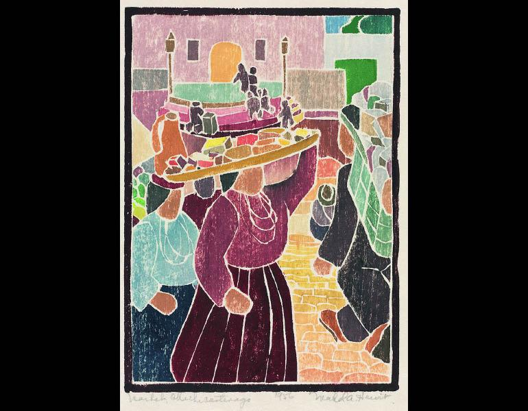 Market Chichicastenango, 1956. Mabel Hewit (American, 1903–1984). Color woodcut; 20.5 × 14.5 cm. Gift of Mr. and Mrs. William Jurey in memory of Mabel A. Hewit 2004.187 © Mabel Hewit