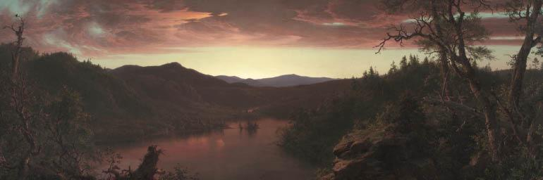 Twilight in the Wilderness (detail), 1860. Frederic Edwin Church (American, 1826-1900). Oil on canvas; 101.6 x 162.6 cm. Mr. and Mrs. William H. Marlatt Fund 1965.233