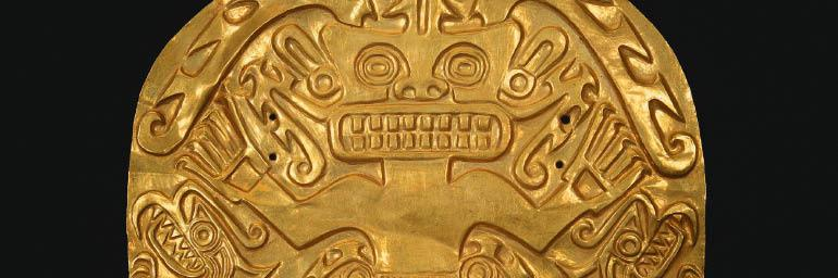 Pectoral (Chest Plaque, detail), 400-900. Intermediate Region, Panama, Conte style. Gold alloy; 25.1 x 26.7 cm. Gift of Mrs. R. Henry Norweb, Mrs. Albert S. Ingalls, with additions from the John L. Severance Fund 1952.459